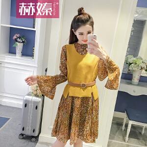 【满200减100】【赫��】2017夏季新款韩版雪纺连衣裙+外搭马甲两件套套装H6628