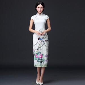 波柏龙 2017夏装新款气质复古中式唐装旗袍古典优雅中长款连衣裙