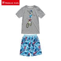 探路者童装男童运动套装2017夏季新款儿童印花短袖T恤/短裤套装