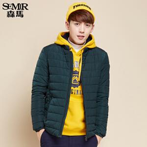 森马棉衣 冬装 男士休闲立领加厚保暖纯色袖标短外套韩版