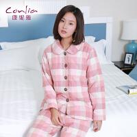 康妮雅睡衣 女士冬季加厚休闲格子可爱翻领长袖夹棉家居服套装