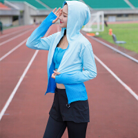 瑜伽服秋冬长袖上衣外套拉链连帽修身显瘦速干跑步运动衣健身服女