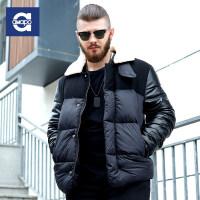 AMAPO潮牌大码男装 男士胖子加大码棉衣加厚保暖棉服冬季拼接外套