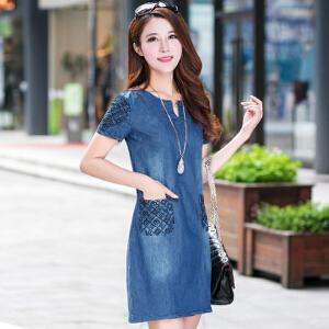 【当当年中庆】春秋韩版新款女装短袖牛仔裙连衣裙修身显瘦大码V领裙