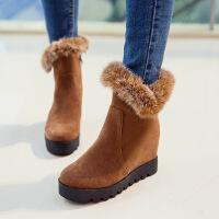 彼艾2016秋冬季新款磨砂雪地靴厚底棉靴毛毛鞋内增高短靴超高跟女鞋女靴子