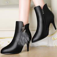 莫蕾蔻蕾 尖头细跟高跟鞋秋冬新款深口单鞋性感皮鞋百搭女鞋6D630