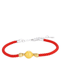 戴和美 精选天然琥珀蜜蜡S925银镶嵌蜜蜡搭配红绳时尚百搭手链(附鉴定证书)