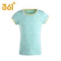 361度童装女童短袖T恤儿童中大童圆领纯棉休闲短T恤