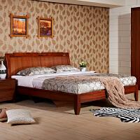 御品工匠 现代中式实木床 1.5 1.8米双人床 储物高箱床0115