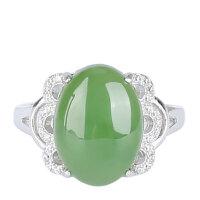 戴和美 精选和田碧玉搭配S925银锆石镶嵌蛋面戒指(附鉴定证书)