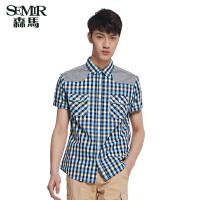 森马男装 夏装 短袖衬衫男士韩版休闲拼接棉格子衬衣潮流