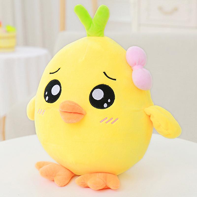 鸡毛绒玩具可爱小鸡公仔布娃娃抱枕玩偶女孩生日礼物 礼品_呆萌鸡25cm