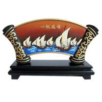 活性炭雕扇形一帆风顺 办公室商务礼品 创意家居工艺品摆件