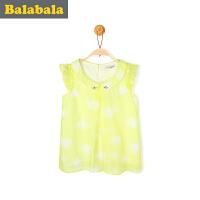 巴拉巴拉女童衬衫短袖中大童童装夏装儿童黄色无袖衬衣女