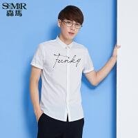 森马短袖衬衫 夏装 男士时尚简约字母印花衬衣韩版潮男装