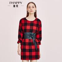 【9.6上新】海贝春季新款女 圆领格子时尚中袖连衣裙