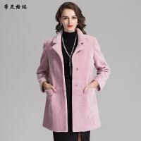 女装新款冬季时尚中长款翻领抗寒保暖羊剪绒皮草外套