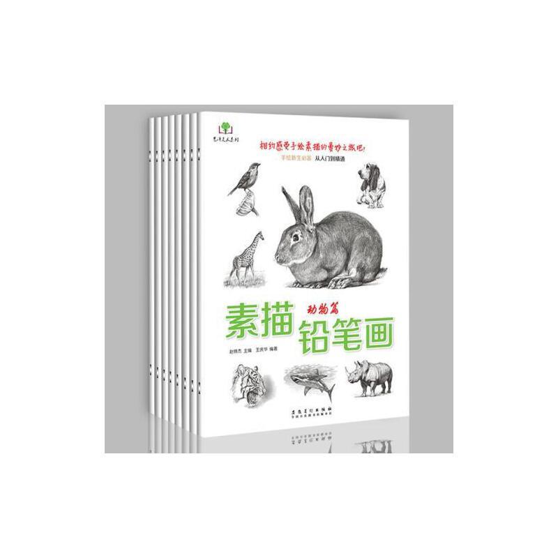 《赠素描纸全8册素描铅笔画动物篇等手绘新生必备从