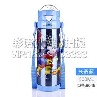 迪士尼儿童保温杯男米奇不锈钢杯子带吸管宝宝水壶保暖女学生水杯