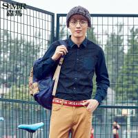 森马长袖衬衫秋装时尚 男士拼接长袖都市休闲衬衣时尚潮流