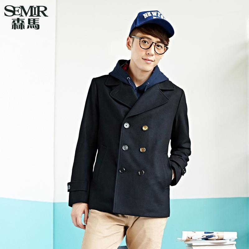 森马毛呢大衣 2015冬装新款 男士纯色直筒风衣羊毛呢子外套潮流图片