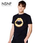 NSNF纯棉手绘唇形黑色短袖T恤 2017年春夏新款