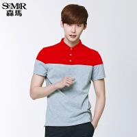 森马短袖T恤 夏装 男士POLO领拼接直筒学生针织衫韩版潮