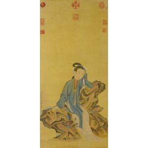 1447    焦秉贞  《仕女图》   乾隆御览之宝、嘉庆御览之宝。并有多个名人收藏章