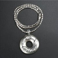 戴和美珠宝 项链吊坠 S990银吊坠莲花心经平安扣素链项链