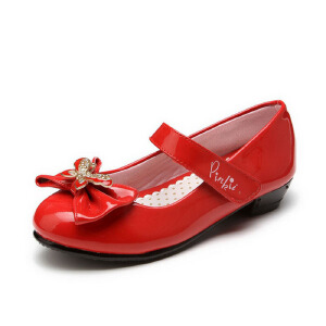 鞋柜shoebox 春季新款典雅蝴蝶结低跟女童单鞋