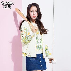 森马短外套 春装 女士立领花卉印花外套拼接韩版直筒夹克