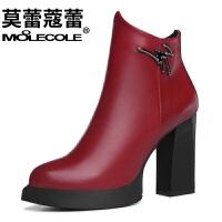 莫蕾蔻蕾新款短靴女春秋单靴子女鞋高跟冬尖头粗跟英伦马丁靴 6D539