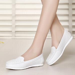 戈美其正品女鞋平底舒适休闲女鞋圆头白搭鞋1611020