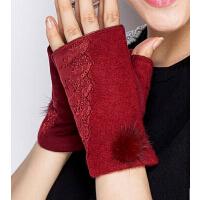 兔毛球蕾丝冬季短款无指手套 女冬半指羊绒毛半截手套保暖