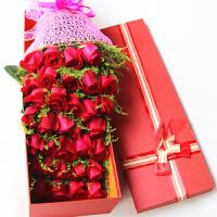 馨情欣恋 情人节节日 鲜花生日礼速递33支红玫瑰花礼盒送女友北京 上海 武汉 天津 广州 全国同城配送