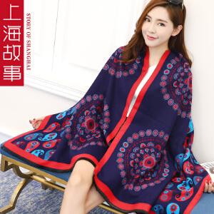 上海故事正品春春秋女士韩版时尚仿羊绒披肩围巾两用长加厚百搭夏季空调围巾
