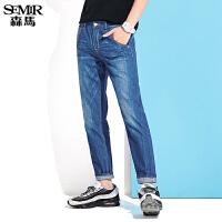 森马牛仔裤男士2017夏装新款小脚裤男美式潮流水洗青年学生长裤子