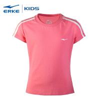 鸿星尔克童装女童圆领短袖针织衫儿童运动短袖学生运动训练T恤