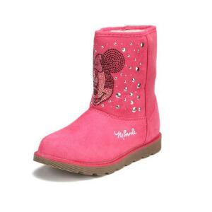 鞋柜SHOEBOX冬款女童黄色米妮图案铆钉休闲靴子