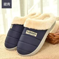 羽绒布棉拖鞋女冬包跟厚底情侣男居家室内鞋防滑冬季毛毛月子保暖