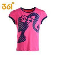 361度童装女童夏季短袖T恤361中大童纯棉圆领休闲T恤