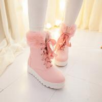 彼艾2016秋冬日系甜美学生粉色黑色平跟厚底系带雪地靴女冬靴子毛毛靴短靴