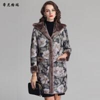 冬新款羊剪绒皮草外套连帽两面穿印花皮毛一体女装
