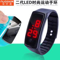 新款二代LED手表时尚运动硅胶电子手表儿童学生金属扣墨镜LED手表