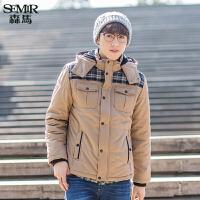 森马棉衣 冬装 男士可拆卸帽直筒拼接棉服外套韩版潮男装