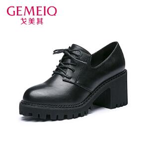 戈美其秋季新款英伦风中口圆头系带女鞋高跟粗跟单鞋女休闲鞋