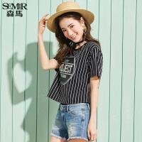 森马短袖T恤女2017夏装新款半袖上衣韩版宽松百搭休闲字母体恤