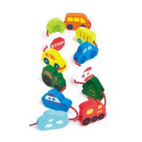 Hape 交通工具穿绳 3岁 儿童串珠益智玩具 E0905
