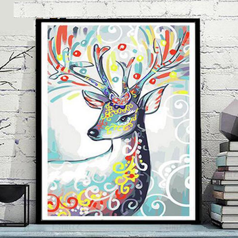diy数字油画 客厅书房花卉人物风景填色手绘油彩装饰画 鹿