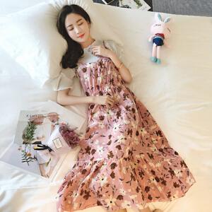 【当当年中庆】波柏龙 夏装新款韩版短袖溪点连衣裙